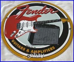 Vintage Fender Guitars Porcelain Sign Stratocaster Telecaster Amplifier Les Paul