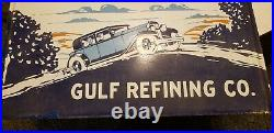 Vintage GULF OIL Lighthouse porcelain sign 60×27 Authentic RARE 1930's