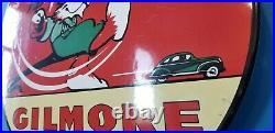 Vintage Gilmore Gasoline Porcelain Gas Oil Service Red Lion Pump Plate Sign
