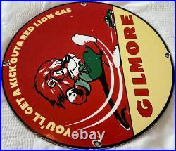 Vintage Gilmore Gasoline Porcelain Sign Gas Station Motor Oil Pump Plate Kick
