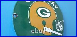 Vintage Green Bay Packers Porcelain NFL Football Sports Stadium Service Sign
