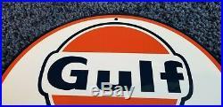 Vintage Gulf Marine Boat Motor Gas 11 3/4 Porcelain Metal Gasoline & Oil Sign