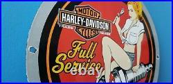 Vintage Harley Davidson Motorcycle Porcelain Gas Service Pin Up Girl Sign