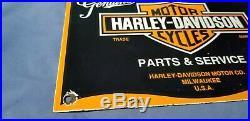 Vintage Harley Davidson Motorcycle Porcelain Gas Service Station Pump Plate Sign