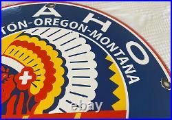 Vintage Idaho Gasoline Porcelain Sign Chief Gas Station Pump Plate Washington