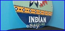 Vintage Indian Gasoline Porcelain Gas Oil Service American Native Chief Gas Sign