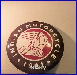 Vintage Indian Motorcycles Porcelain Gas Bike Auto Service Sales Dealer Sign