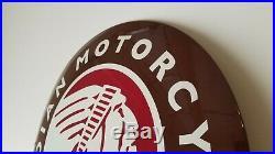 Vintage Indian Motorcycles Porcelain Gas Bike Service Station Convex Dealer Sign