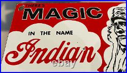 Vintage Indian Motorcycles Porcelain Sign Parts Service Dealership Harley