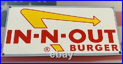 Vintage Innout Burger Porcelain Sign Fast Food Gas Station Pepsi Dew Mcdonalds