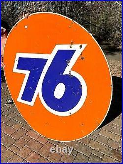 Vintage LG Rare 6Ft Porcelain Union 76 Oil Gas Gasoline Sign Service Station