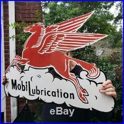 Vintage Large 36 Mobil Lubrication Pegasus Peggy Porcelain Sign Nos Near Mint