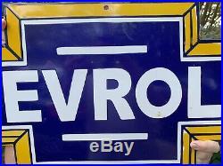 Vintage Large Chevrolet Porcelain Gas Station Bowtie Porcelain Metal Sign