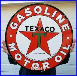 Vintage Large Texaco 26 Double Sided Porcelain Sign Dated 3-31