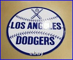 Vintage Los Angeles Dodgers Porcelain Major League Baseball Stadium Field Sign