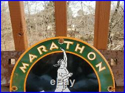 Vintage Marathon Gasoline Porcelain Sign Gas Metal Service Station Pump Plate Ad
