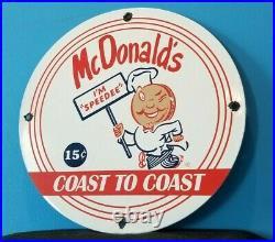 Vintage Mcdonalds Porcelain Restaurant Burgers Shakes Drive Thru Service Sign