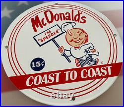 Vintage Mcdonalds Porcelain Sign Fast Food Gas Station Pepsi Dew Innout Burger