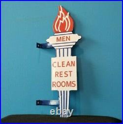 Vintage Mens Standard Gasoline Porcelain Gas Service Torch Restroom Flange Sign