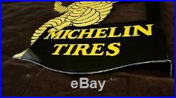 Vintage Michelin Man Porcelain Gas Auto Tires Service Bibendum Double Sided Sign