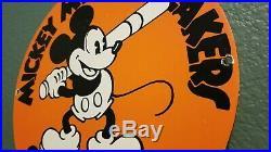 Vintage Mickey Mouse Porcelain Walt Disney Baseball Converse Dealer Sales Sign