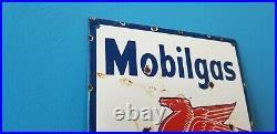 Vintage Mobil Gasoline Porcelain Gas Oil Service Station Pump Pegasus Sign