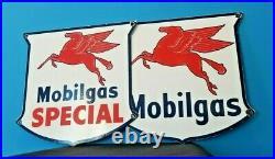 Vintage Mobil Gasoline Porcelain Gas Service Pump Mobilgas Special Pegasus Sign