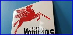 Vintage Mobil Gasoline Porcelain Pegasus Mobilgas Service Station Auto Pump Sign