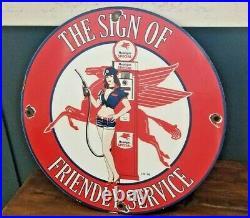 Vintage Mobil Gasoline Porcelain Pegasus Pin Up Girl Service Station Pump Sign
