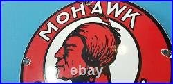 Vintage Mohawk Gasoline Porcelain Indian Gas Motor Oil Service Station Pump Sign