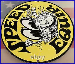 Vintage Moon Speed Equipment Porcelain Service Sign Gas Station Motor Rat Fink