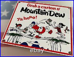 Vintage Mountain Dew Hillbilly Porcelain Sign Pepsi Bottle Soda Pop Jug Ya-hoo