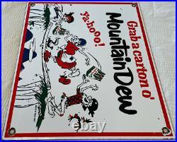 Vintage Mountain Dew Porcelain Metal Sign Soda Pop General Store Gas Station Oil