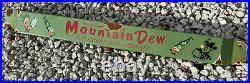 Vintage Mountain Dew Porcelain Sign Soda Pop Door Push Bar Oil Gas Station Drink