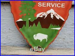 Vintage National Park Service Porcelain Sign Rv Camping Fishing Hunting 4wd