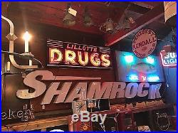Vintage Neon Sign, Drugstore, Oil & Gas, Man Cave, Porcelain, Pharmacy