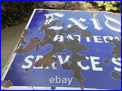 Vintage ORIG. 2-Sided EXIDE BATTERIES Service Station Porcelain Advertising SIGN