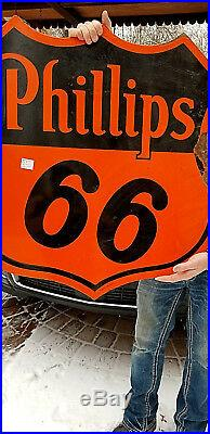 Vintage Old 30in Porcelain Phillips 66 Shield Gasoline Sign Oil Gas 2sided GR8