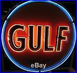 Vintage Old Gulf Dealer Porcelain Gas Oil Pump Station Neon Sign 24x24 BZ4L