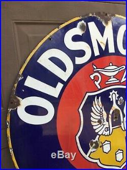Vintage Oldsmobile Service Porcelain Sign 42 dia