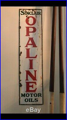 Vintage Opaline oils porcelain sign