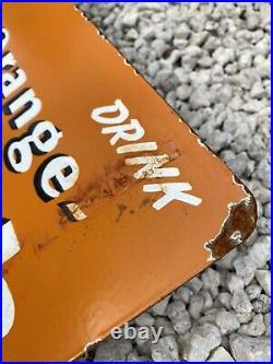 Vintage Orange Crush Porcelain Flange Sign 20 USA Oil Gas Pump Soda Pop Crushy