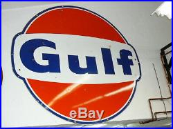 Vintage Original 6Gulf Gas Station Porcelain Sign