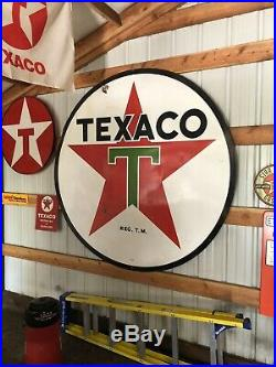 Vintage Original 72 Texaco Gas Double Sided Station Porcelain Sign 6ft 1956