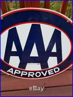 Vintage Original AAA Auto Club Approved Service Station Porcelain Sign Gas Oil