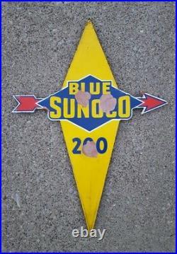 Vintage Original Blue Sunoco 200 Porcelain Enamel Pump Plate Sign