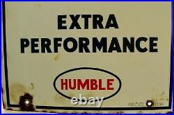 Vintage Original Esso Extra Gasoline Pump Plate Sign 18 x 10 3/4