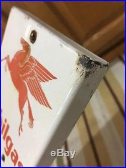 Vintage Original Mobilgas Thermometer Porcelain Pegasus Sign Friendly Rare