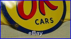 Vintage Original OK USED CARS metal porcelain sign auto dealer service station