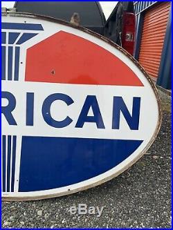 Vintage Original Porcelain American Gas Sign Dealer Service Station Gas Pump Can